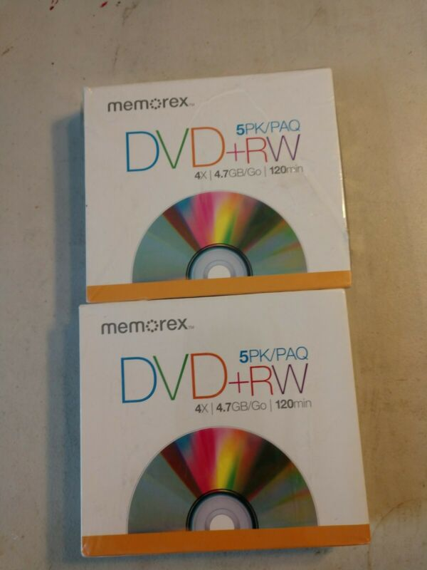 Memorex DVD+RW Discs, 4.7GB, 5/Pack. Lot of 2
