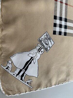 """Vintage BURBERRY'S Beige Nova Check 100% Silk Square Scarf 30"""""""