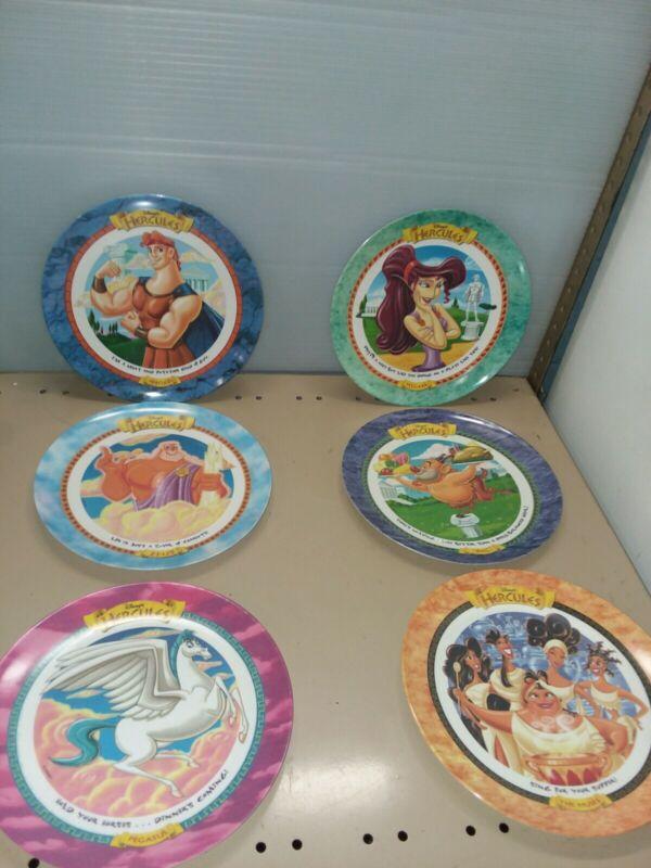 Disney HERCULES PLATES Complete Set of 6 McDonalds Vintage 1997 Pegasus Megara