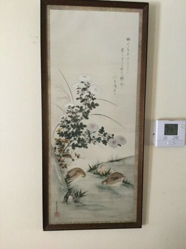 SUPERB ANTIQUE CHINESE SILK SCROLL BIRDS &LANDSCAPE 194O