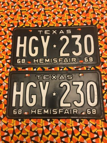 1968  TEXAS LICENSE PLATES  HGY230