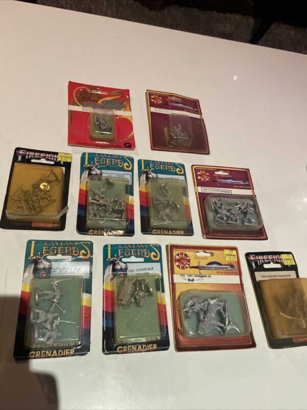 GRENADIER MINIATURES , BUNDLE, FIRE FIGHT, FANTASY LEGENDS / WORRIORS, 90s X10