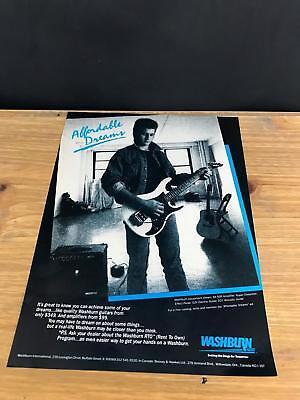 "1987 VINTAGE 8X11 PRINT Ad FOR WASHBURN G2V ELECTRIC Guitars ""AFFORDABLE DREAMS"""