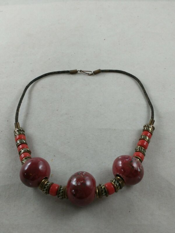 Vintage African Trade Bead Necklace Red Metal, Glass & Pottery *e