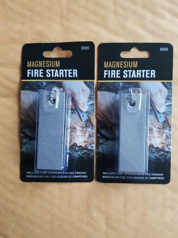 2 Magnesium Fire Starter Flint Ferro Striker Knife Camping Backpacking Survival.