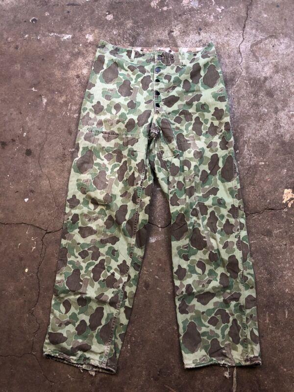 Vintage WWII USMC US MARINE CORPS P44 CAMO FROGSKIN Butt Pocket Trouser Pants