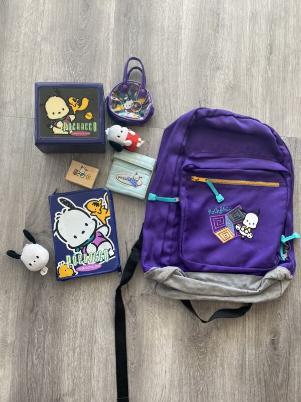 Sanrio Lot Of Vintage Pochacco Dog Backpack, Pencil Case Box Stamp Pouch Agenda