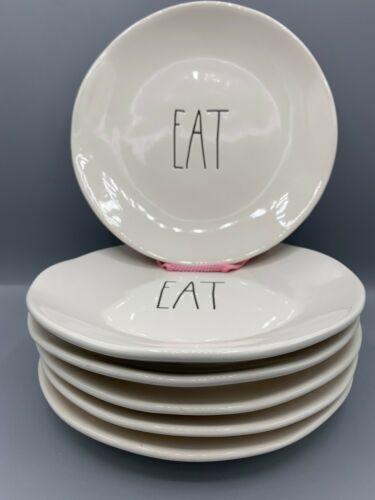 Rae Dunn Lot of 6 White Ceramic EAT Plates 6 inch