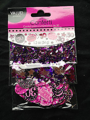 30th Birthday Confetti Table Decoration Sprinkle Black Pink Purple Age 30 Party  - Purple 30th Birthday Decorations