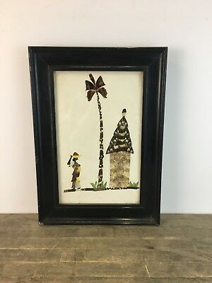 Vintage Applied Butterfly Wing Art Painting Of Tribal Hut Scene.