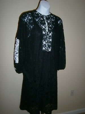 Nude Italy Black/White Cotton Blend Lace Puff Sleeves Embroidered Dress Sz 44  Puff Sleeve Cotton Blend