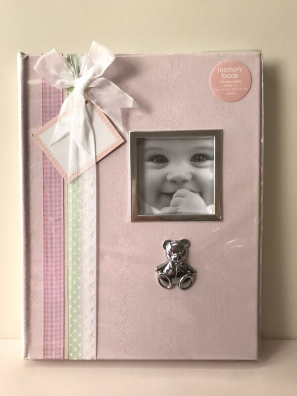 NEW First Impressions Pink Baby Girls Memory Book with Picture Frame Silver Bear