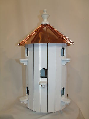 10 Hole Bird House Low roof Copper top  XLarge 26 inches TALL Amish Made in US