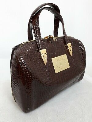 Vintage Style Dark Brown Moc Croc Handbag (hemplem collection)