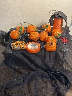 (7)Lot Of Halloween Decor- Pumpkin Lights, Blinking Halloween Light, Bat, Spider