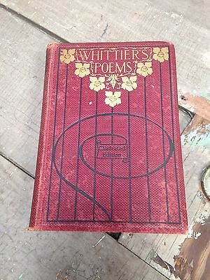 Antique Book Of Whittiers Poems Illustrated Edition 1857  G5369