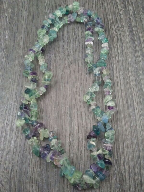 MAMAS ESTATE FLUORITE GEMSTONE NECKLACE OR BEADS CONTINUOUS STRAND #B8-4
