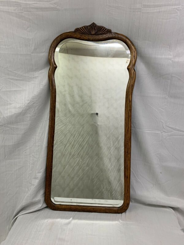 Antique Carved Tall Solid Oak Wall Beveled Mirror
