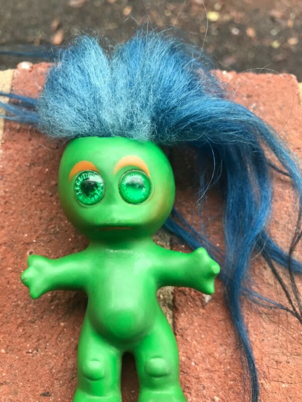 Vintage 1964 L. Khem Green Body Moon Goon Troll Doll W/ Blue Hair Green Eyes