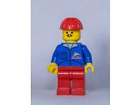 Lego Figur Town Mann blaue Jacke Bulldozer Logo jbl003  9293