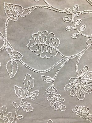 - BEIGE IVORY LEAVES EMBROIDERED COTTON LINEN FABRIC (54 in.) Sold BTY