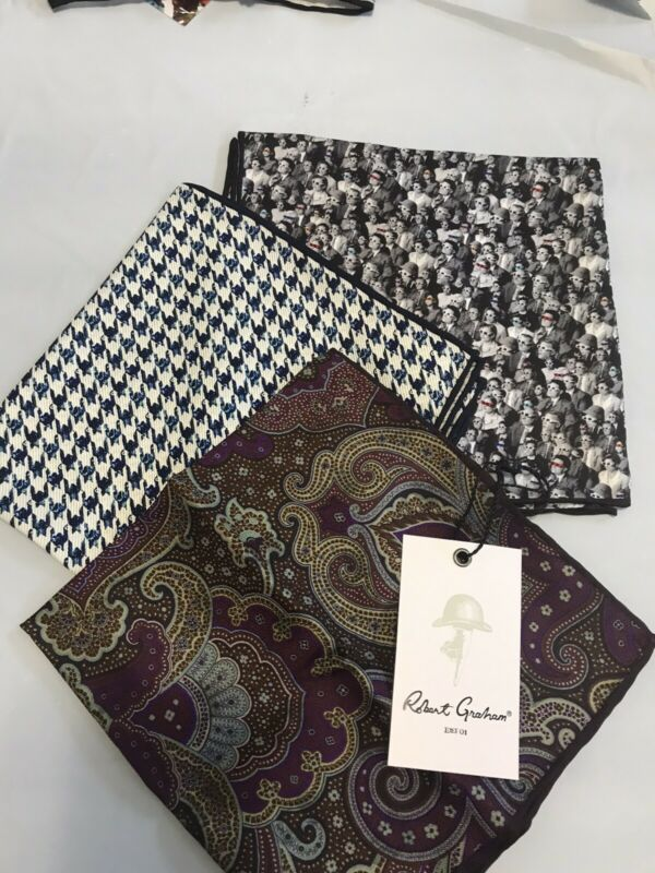 NWT Robert Graham 3 PC Lot Silk Pocket Squares