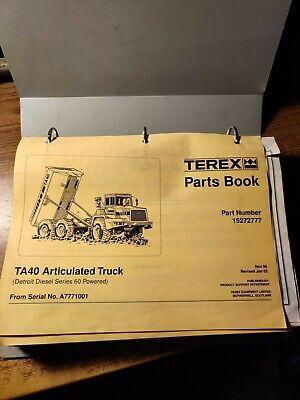 Terex Ta40 Articulated Dump Truck Parts Manual Book Catalog List