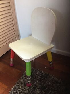 Childs / kids wooden white chair VERY STURDY great condition