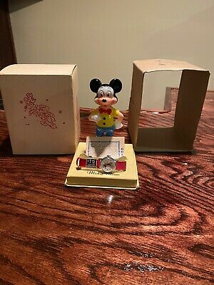 Vintage 1958 Ingersoll Mickey Mouse Timex Watch with Figure, Price Tag, Sleeve