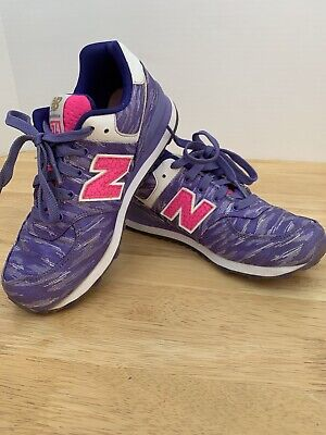 New Balance 574 Girls Size 2.5 Purple Hot Pink