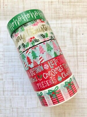 5 Rolls Christmas Washi Tape set papercraft scrapbook planner supply holly (Christmas Tape)