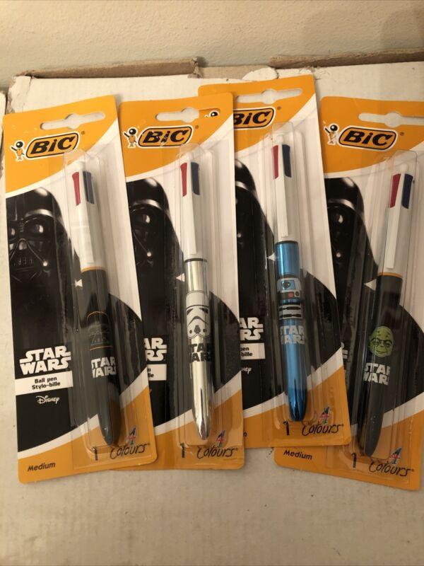 Set of 4 STAR WARS Bic 4 Color Pens - Vader, Stormtrooper, Yoda, R2-D2 - NEW!