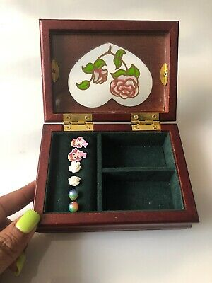 Small Wood Boxes (Wood & Glass Small Flower Floral Jewelry Box W/ 3 Pair Of Earings. Pre)
