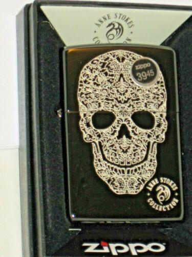 NEW Windproof ZIPPO USA Lighter 49143 Anne Stokes Lasered Skull Black Ice Case