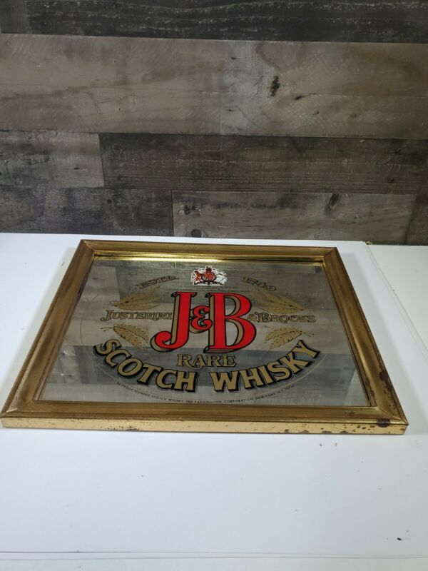 "Rare J&B Scotch Whiskey Mirror Bar Man Cave Advertising 17""x18"" Pub Sign/mirror"