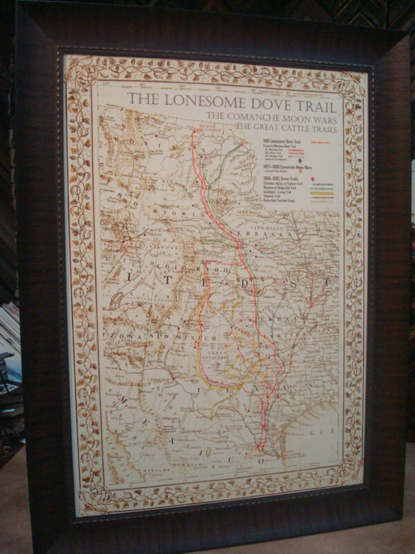 "ANTIQUE TEXAS MAP FRAMED ""The Lonesome Dove~Comanche Moon~Great Trails"""