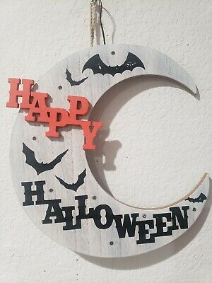 Halloween LED Light Up Moon Bats HAPPY HALLOWEEN Wall Sign Door Decor 11.5""