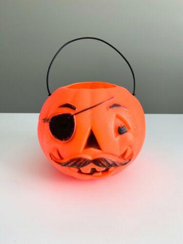 Vintage Pirate Pumpkin Mustache Plastic Blow Mold Halloween Candy Bucket Pail