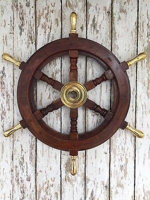 "18"" Deluxe Wood Ship Wheel w/ Brass Center & Handles ~ Nautical Wall Decor"