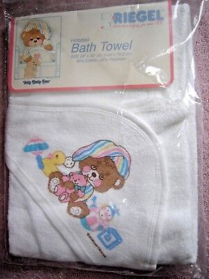 Vtg MIP Teddy Beddy Bear Rainbow Baby Hooded Bath Towel USA Retro Fisher Price