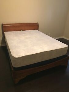 Queen size sleigh bed, box & mattress.
