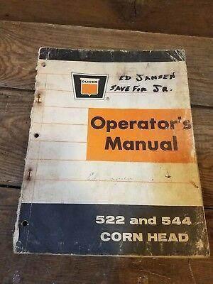 Oliver 522 And 544 Cornhead Operators Manual Parts Ingormation Book Combine