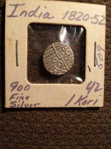 INDIA- 1820 - 1852 AD, 1 SILVER KORI - 900 Fine Silver - $3.00