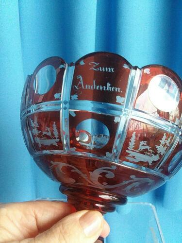 "Antique Biedermeier Footed Red Glass Bowl Overlay Cut to Clear ""Zum Andenken"""
