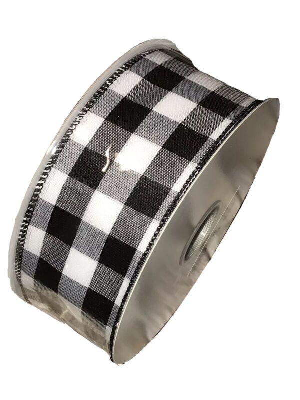 "Wired Ribbon Black/White Plaid 2.5"" x 5 yards BTY"
