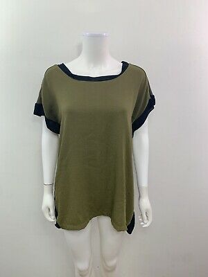 Zara Collection Women's Size Medium Scoop Neck Green Black Short Sleeve Blouse