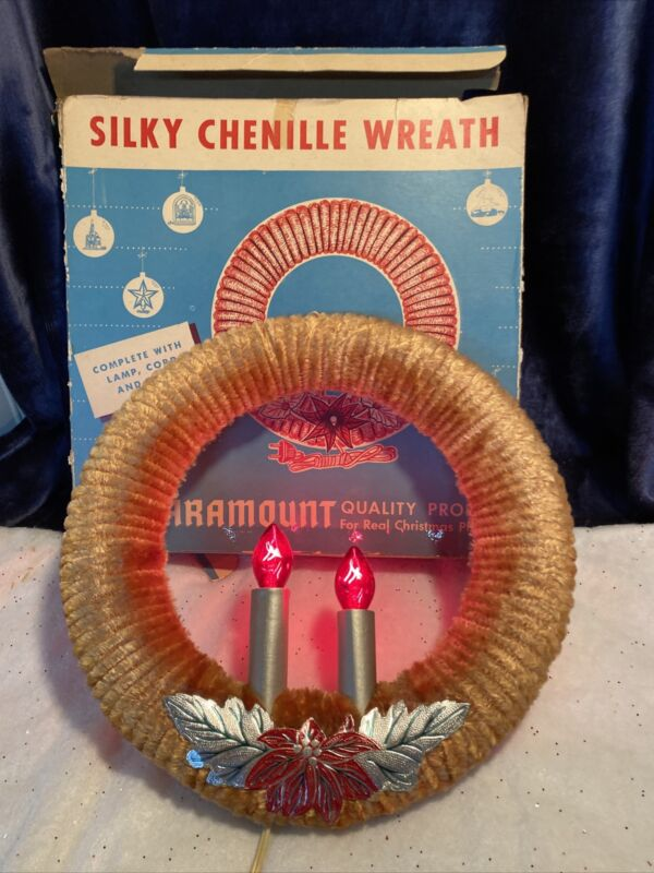 Vintage Christmas PARAMOUNT WREATH Double Candles Lighted Red Chenille 11 Inches
