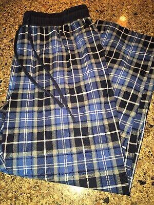 Men's Nautica Sleepwear Pajama Pants Large Blue Plaid Polyester Lounge Pants