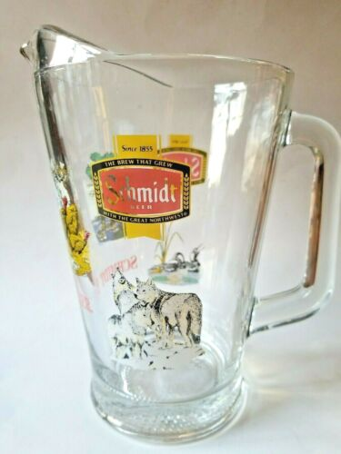 Vintage Schmidt Beer Wildlife Series 9 Inch Glass Pitcher Clean!