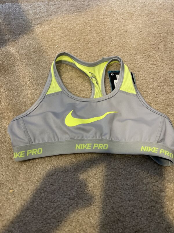NWT Nike Pro Girls Hypercool Wolf Gray & Volt Racerback Sports Bra 641644 Sz M
